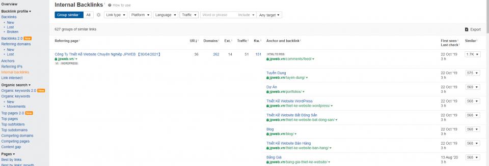 Kiểm soát hệ thống link nội bộ trong trang bằng Ahrefs