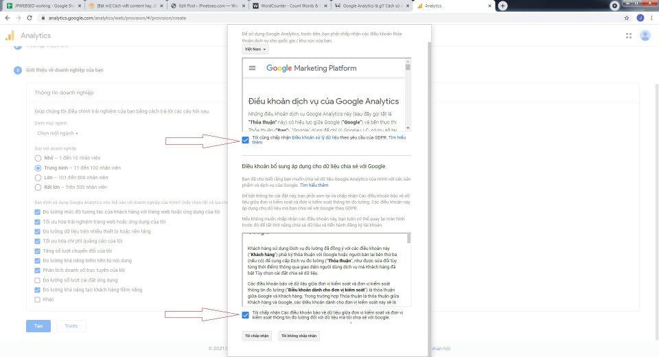 chấp nhận những các điều khoản của Google Analytics