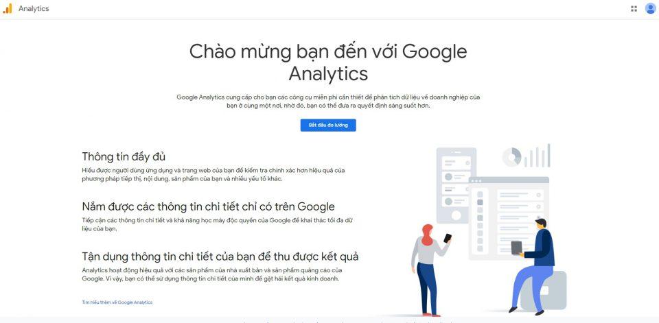 Giao diện bắt đầu vào google analytics