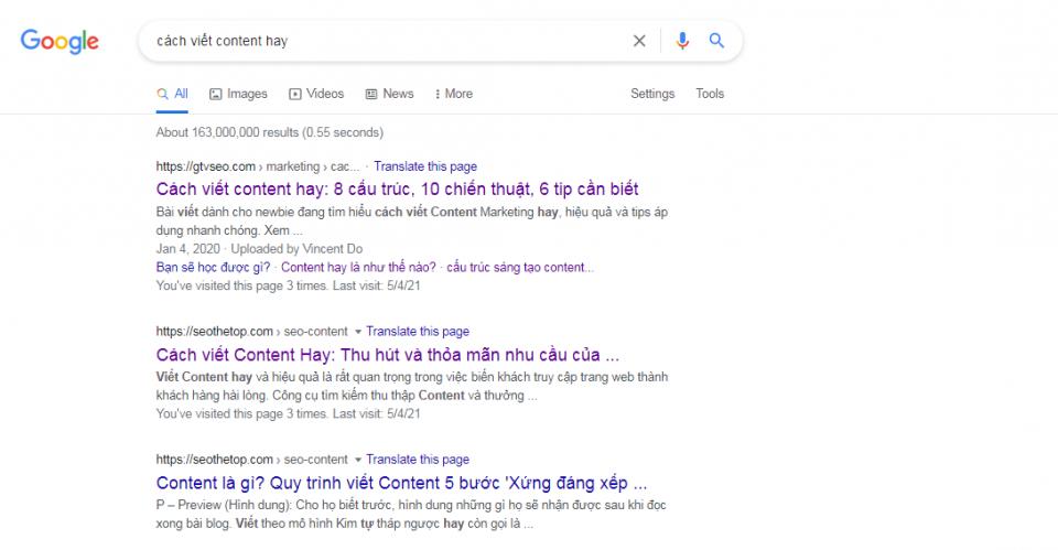 Hãy sử dụng Google để tìm kiếm những Content hàng đầu
