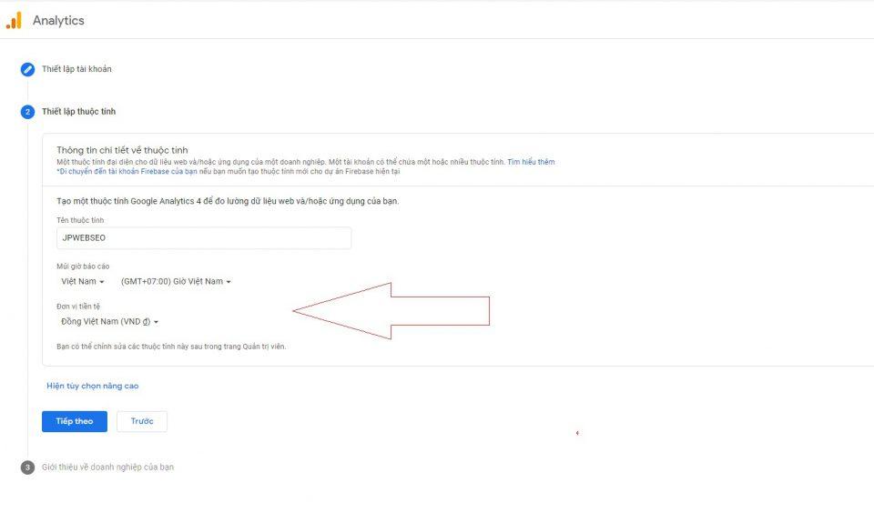 Thiết lập các thuộc tính Google Analytics