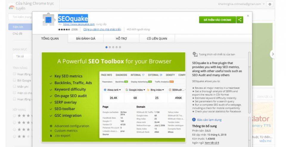 Dùng SEOquake để kiểm tra index google